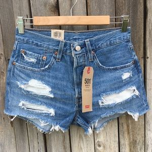 NWT Levi's 501 High Rise Jean Shorts Sansome Blue